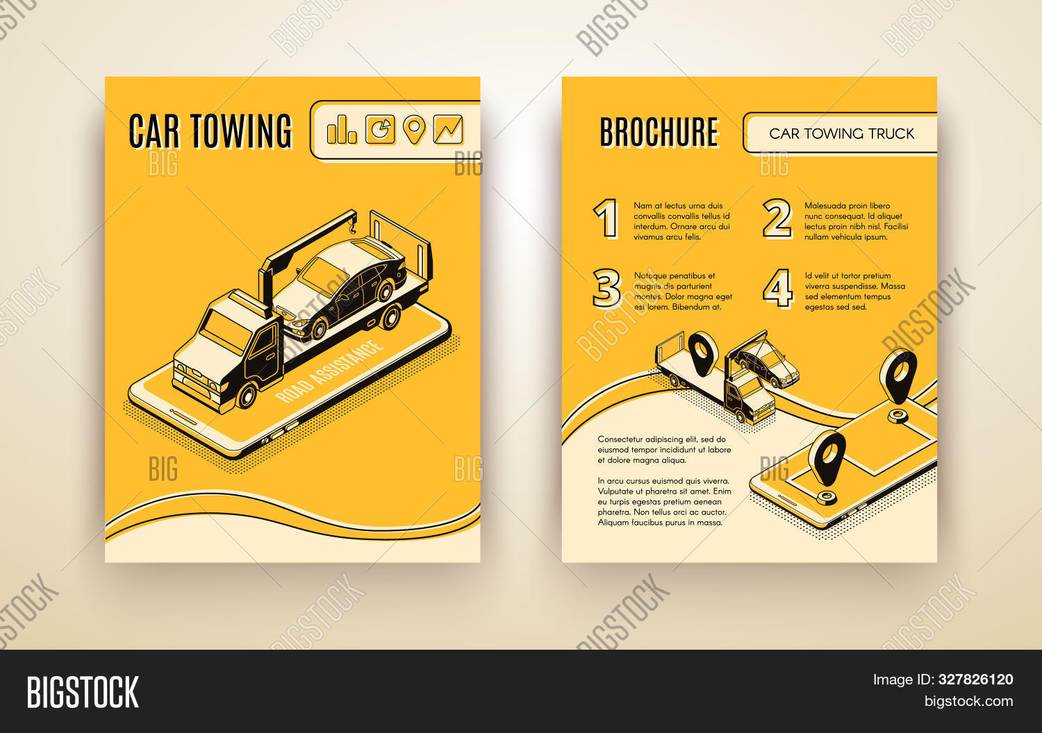 Car towing company, road assistant, car repair service isometric advertising brochure or booklet page template. Flatbed truck on smartphone screen transporting broken car line art illustration