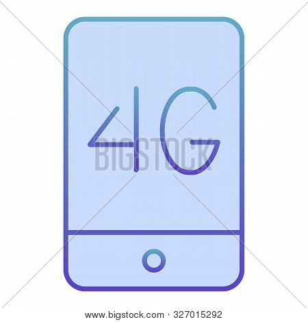 Mobile phone with 4g flat icon. 4g smartphone blue icons in trendy flat style. Phone network concept gradient style design, designed for web and app. Eps 10. stock photo