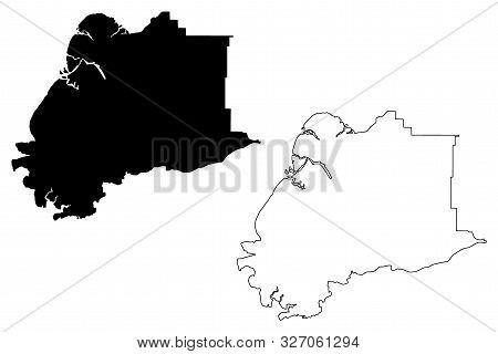 Kusilvak Census Area, Alaska (Boroughs and census areas in Alaska, United States of America,USA, U.S., US) map vector illustration, scribble sketch Wade Hampton map stock photo