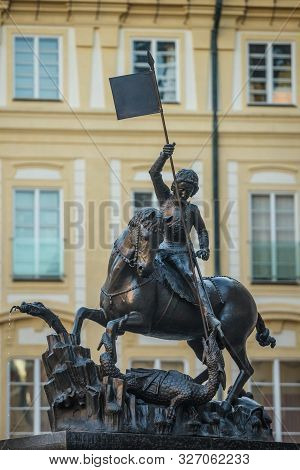 St. George statue near St. Vitus cathedral in Prague stock photo