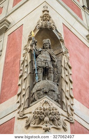 Statue in wall near St. Vitus cathedral in Prague stock photo
