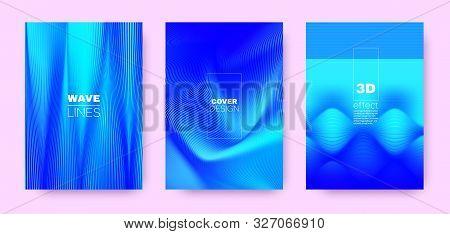 3d Lines Design. Wave Flow Poster. Neon Abstract Brochure. Gradient Distorted Texture. Gradient 3d Lines Cover. Wave Flow Banner. Blue Modern Wallpaper. Neon 3d Lines Halftone Texture. stock photo