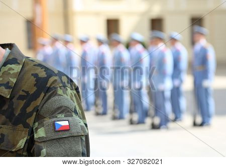 flag of Czech Republic on the uniform of soldier in Prague stock photo