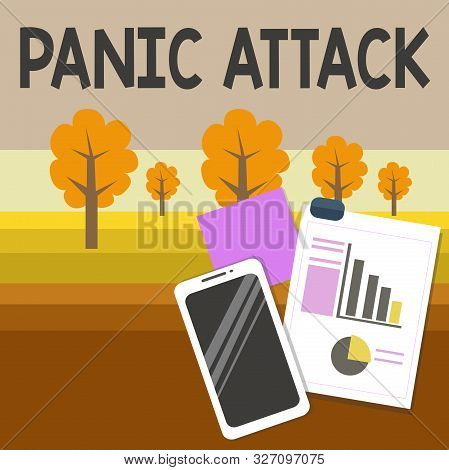 Writing note showing Panic Attack. Business photo showcasing sudden periods of intense fear that may include palpitations Layout Smartphone Sticky Notes with Pie Chart and Bar Graph. stock photo