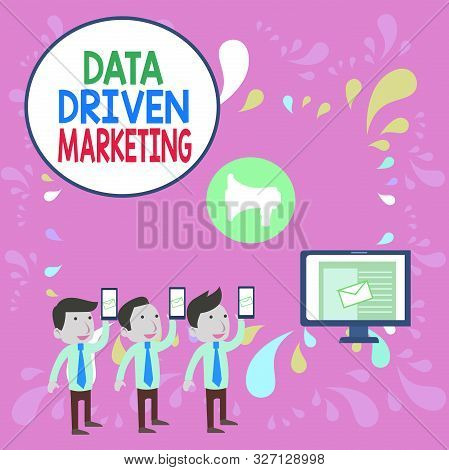 Word writing text Data Driven Marketing. Business concept for Strategy built on Insights Analysis from interactions SMS Email Marketing Media Audience Attraction Personal Computer Loudspeaker. stock photo
