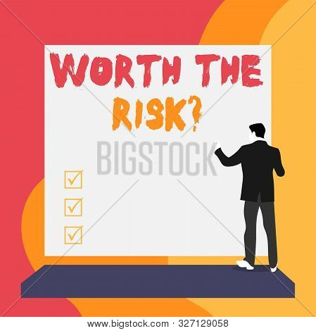 Conceptual hand writing showing Worth The Risk Question. Business photo text asking if certain action balanced with its reaction Back view young woman watching blank big rectangle. stock photo