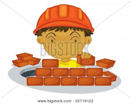 Under construction boy on white background - EPS VECTOR format also available in my portfolio. stock photo