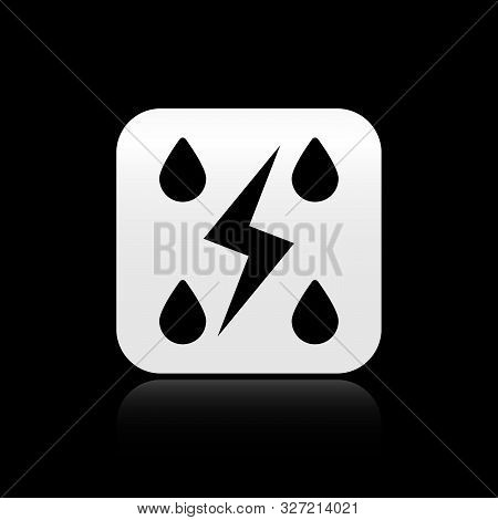 Black Storm icon isolated on black background. Drop and lightning sign. Weather icon of storm. Silver square button. Vector Illustration stock photo