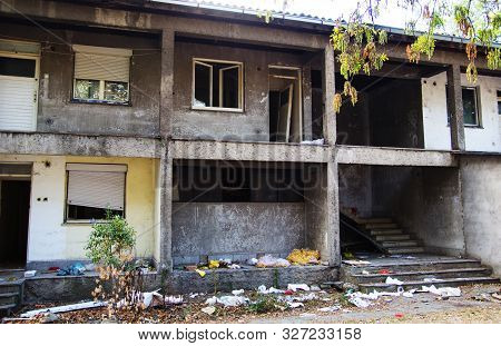 Old ruined and abandoned apartments ready for demolition. stock photo