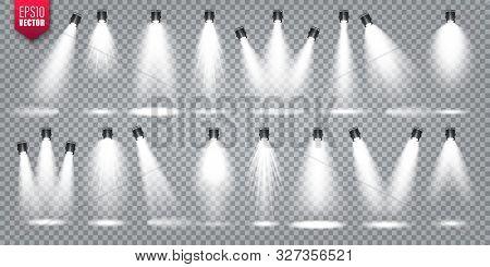 Vector Spotlight Set. Bright Light Beam. Transparent Realistic Effect. Stage Lighting. Illuminated S