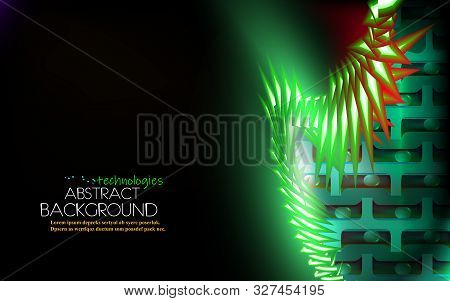 Neon glowing hi-tech futuristic abstract background, design storage biomolecular materials. Layout cover green and black corporate technology. Vector futuristic backdrop bio DNA for biology, chemistry stock photo