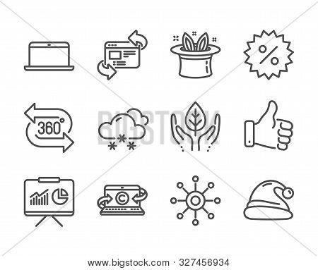 Set of Business icons, such as Copywriting notebook, Like hand, Multichannel, Discount, 360 degree, Santa hat, Presentation, Fair trade, Snow weather, Laptop, Hat-trick, Refresh website. Vector stock photo