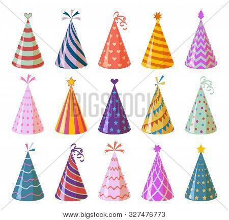 Party caps. Colorful cartoon birthday and carnival paper hats, anniversary and christmas holiday decoration elements vector children funny festival cone set stock photo