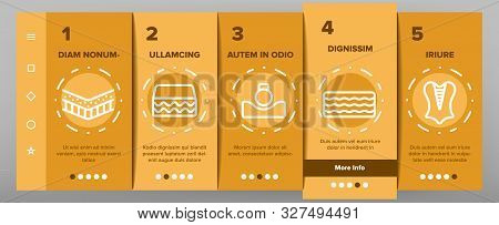 Latex Material Items Onboarding Mobile App Page Screen Vector Icons Set Thin Line. Matress And Washable Cover, Breathable And Memory Foam, Bedding And Pad Linear Pictograms. Contour Illustrations stock photo
