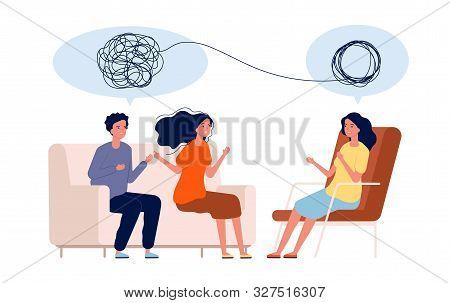 Doctor help pattient. Mental treatment problems vector psychology concept. Illustration psychology couple treatment, psychotherapy help stock photo