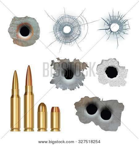 Bullets realistic. Damaged cracked gun holes surfaces and bullets different caliber armor rifles vector collection. Illustration damage from gun weapon, crack of bullet stock photo