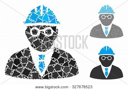 Clever engineer mosaic of joggly elements in variable sizes and color hues, based on clever engineer icon. Vector joggly dots are combined into collage. stock photo