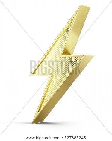 Flash of lightning 3d icon on white background - 3d illustration of golden 3d bolt lightning stock photo