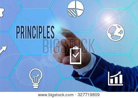 Conceptual hand writing showing Principles. Business photo showcasing fundamental truth that serves as the base for a system of belief Male human wear formal suit presenting using smart device. stock photo