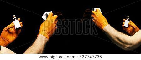 Set of Car polish wax worker hands polishing car. Buffing and polishing vehicle with ceramic. Car detailing. Man holds a polisher in the hand and polishes the car. Tools for polishing stock photo