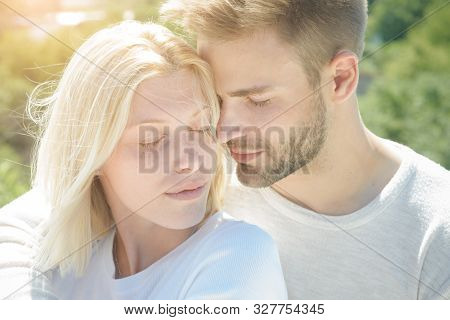 Sensual girl moaning with desire caressing boyfriend during foreplay or making love. People in love. Romantic portrait of a sensual couple in love. Love story stock photo