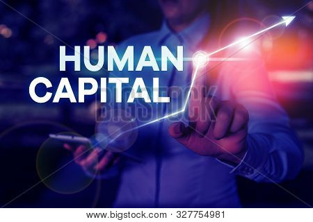 Conceptual hand writing showing Huanalysis Capital. Business photo text Intangible Collective Resources Competence Capital Education. stock photo