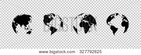 Earth Globe Collection. Set Of Black Earth Globes, Isolated On Transparent Background. Four World Ma