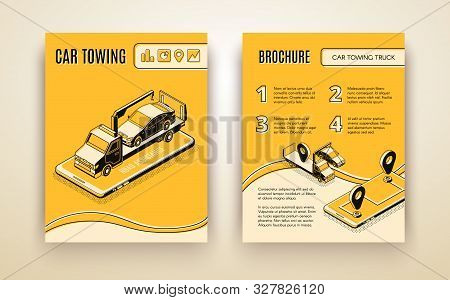 Car towing company, road assistant, car repair service isometric advertising brochure or booklet page template. Flatbed truck on smartphone screen transporting broken car line art illustration stock photo