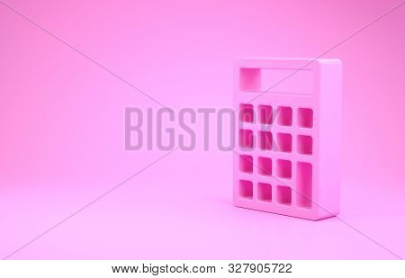 Pink Calculator icon isolated on pink background. Accounting symbol. Business calculations mathematics education and finance. Minimalism concept. 3d illustration 3D render stock photo