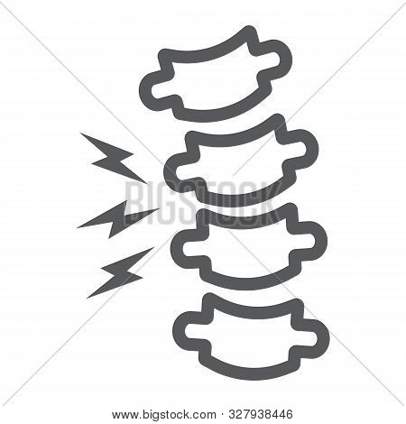 Rachiocampsis line icon, medical and equipment, spinal deformation sign, vector graphics, a linear pattern on a white background. stock photo