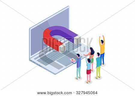 Lead Generate, Inbound Marketing Magnet isometric concept. Vector illustration stock photo