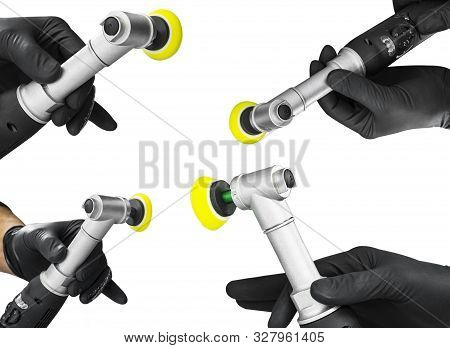 Set of car polish wax worker hands holing polishing tools isolated on white background. Buffing and polishing car concept. Man holds a polisher in the hand and polishes. stock photo