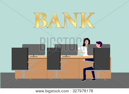 Bank office interior with consultants at reception with computers and clients sitting on couch and chairs. Professional management banking investment. Empty bank office consulting center stock photo