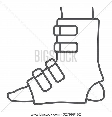 Foot splint thin line icon, orthopedic and medical, leg bandage sign, vector graphics, a linear pattern on a white background. stock photo