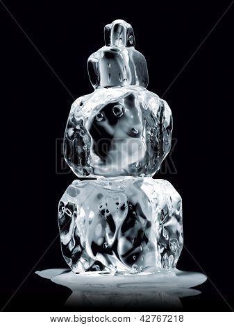 ice cubes stack isolated on black-Dishwasher Magnet Skin (size 24x24)
