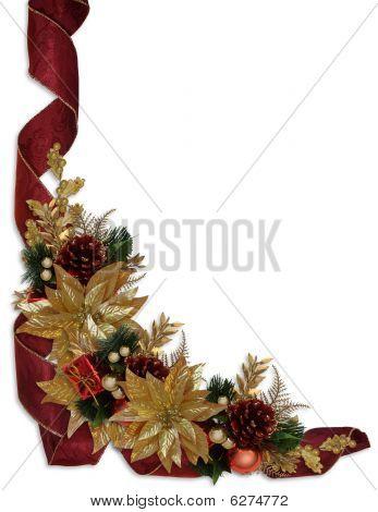 christmas border ribbons gold poinsettias photo stock