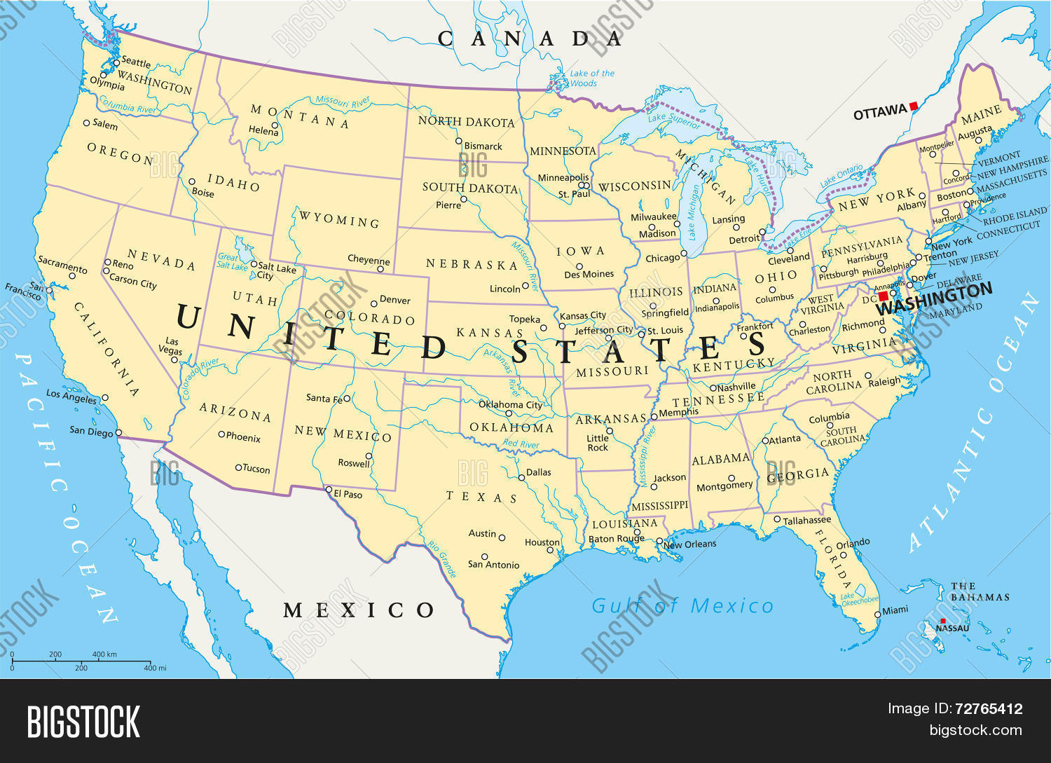 🔥 United States of America Political Map - 72765412 image ...