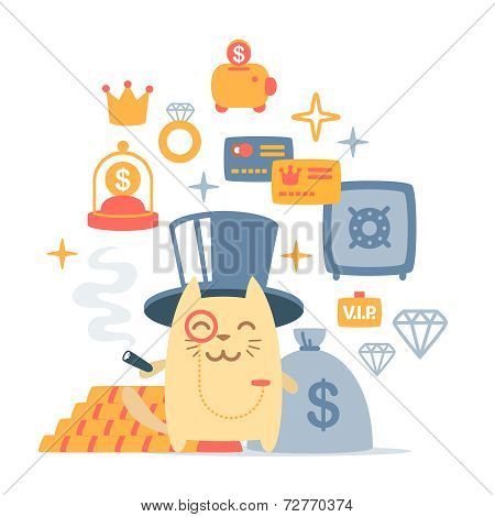Character rich gentleman in a hat-cylinder and a monocle colorful flat composition of professional accessories. Cat male stands smiling and holding a cigar stock photo