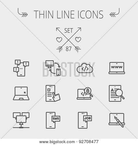 Technology thin line icon set for web and mobile. Set includes -laptop, monitor, smartphones, magnifying glass. Modern minimalistic flat design. Vector dark grey icon on light grey background stock photo
