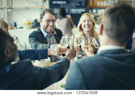 Business People Toast Success Achievement Colleagues Corporate Concept stock photo