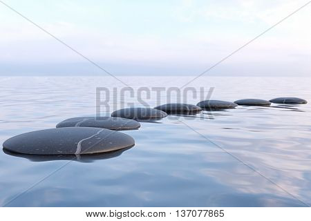 3d rendering of Zen stones in water with reflection - peace meditation relaxation concept