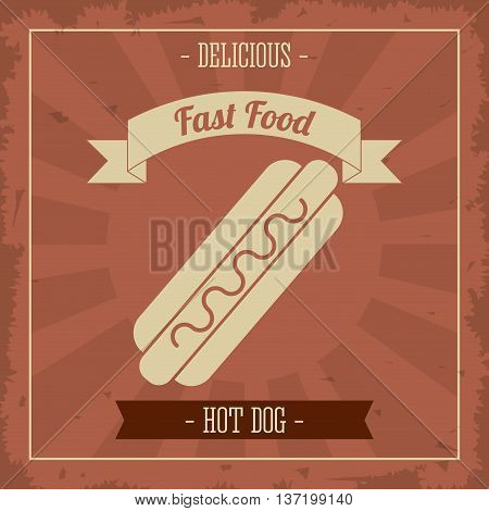 Menu and Food concept represented by hot dog icon over striped background. Colorfull and Retro illustration