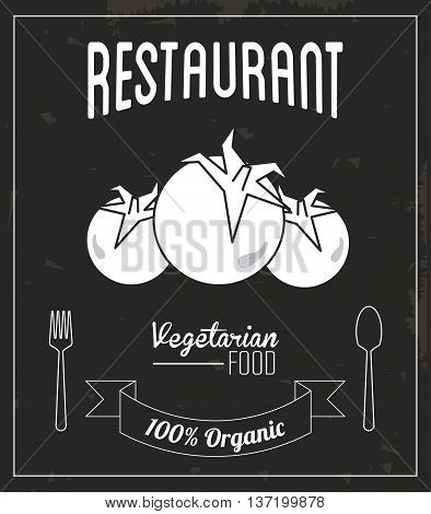 Menu and Food concept represented by tomato icon. Retro illustration. Black and white image