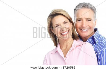 Seniors couple in love. Isolated over white background stock photo