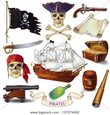 Pirates cartoon icons set with jolly roger chest of treasure sailboat letter in bottle isolated vector illustration stock photo