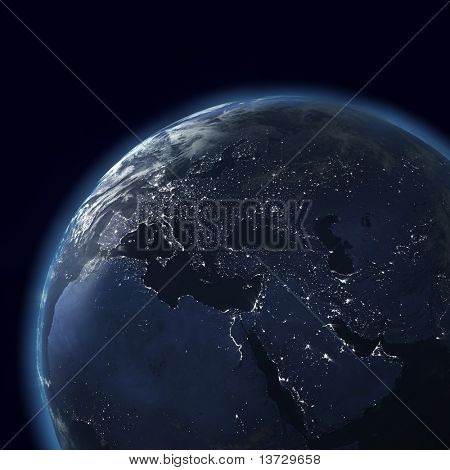 night globe with city lights, detailed map of asia, europe, africa, arabia stock photo