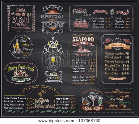 Chalk menu list blackboard designs set for cafe or restaurant, sushi menu, desserts, seafood, fish bar, cocktails, beer, burgers and sandwiches, copy space mock up hand drawn illustration stock photo