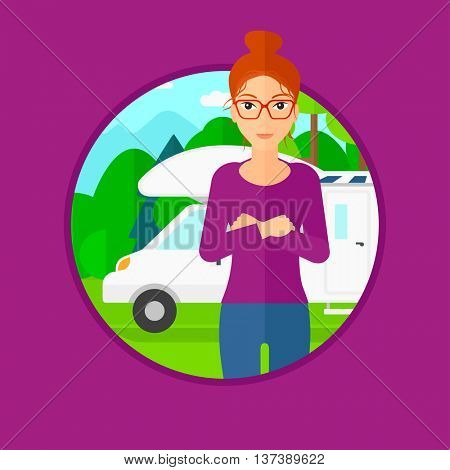 Woman standing in front of motor home. Woman with arms crossed enjoying vacation in camper van. Woman travelling by camper van. Vector flat design illustration in the circle isolated on background. stock photo
