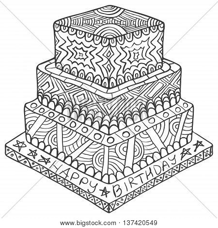 Happy Birthday Zentangle Cake Doodle Black White