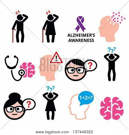 Seniors health - Alzheimer\'s disease and dementia, memory loss icons set